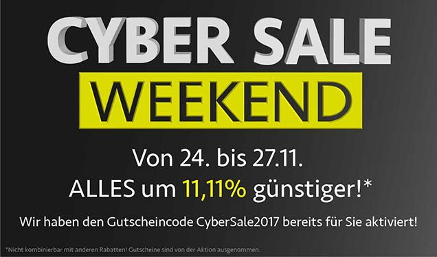 CyberSale-Weekend: -11,11% auf ALLES!